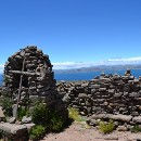The view across Lake Titicaca from an open air temple at the crest of Taquile
