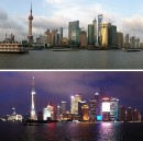 Day and night in Shanghai.