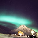 Northern lights over Long Year City, Svalbard
