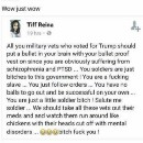 See image below, seems to be a warm and Happy Veterans day from an apparent Hillary supporter.