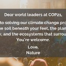 Message to COP21 leaders: Need solutions? Ask nature.
