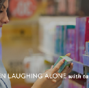 Women laughing alone with tampons: