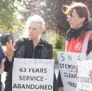 Mayor of Fingal attends tenth day of protest in support of school cleaners in Swords.