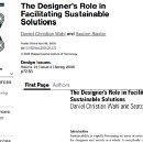 The Designer's Role in Facilitating Sustainable Solutions (Wahl & Baxter, 2008)