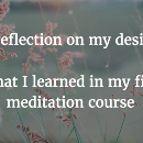A reflection on my desires: what I learned in my first meditation course