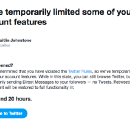 MY TWITTER ACCOUNT HAS BEEN SUSPENDED FOR ONE WEEK