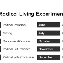 Radical Living: A Year-long Experiment