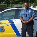 Officer Floyd Hazzard helping encourage others in Burlington Township