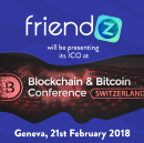 Friendz on stage at the Blockchain & Bitcoin Conference: Geneva get ready
