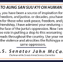 Letter To Aung San Suu Kyi On Burmese Human Rights Abuses