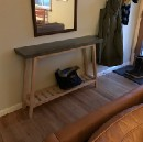 Concrete topped side table.