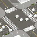Crossing the road in the world of autonomous cars