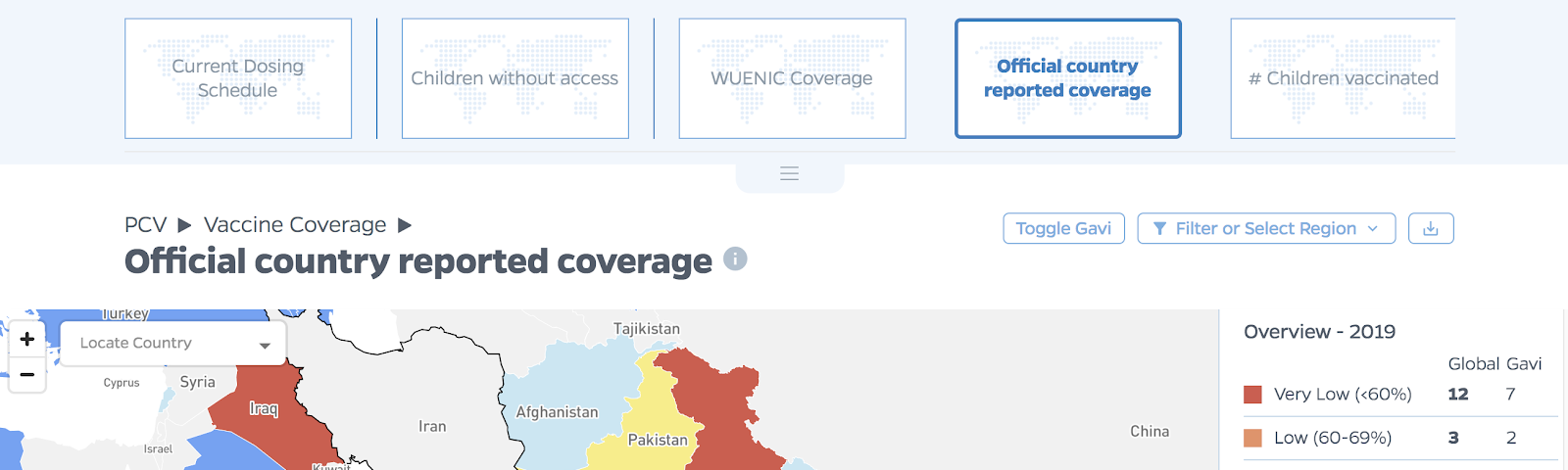 The VIEW-hub platform that visualizes vaccine data, showing a map zoomed in to India