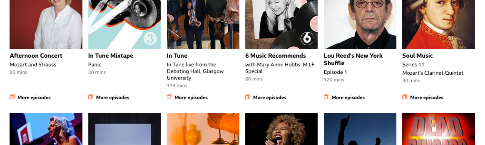 Screenshot of the recommendations on the Sounds website