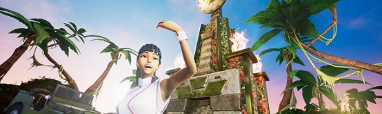 A screenshot from Crayta, showing a woman in a jungle landscape gesturing for you to come towards her.