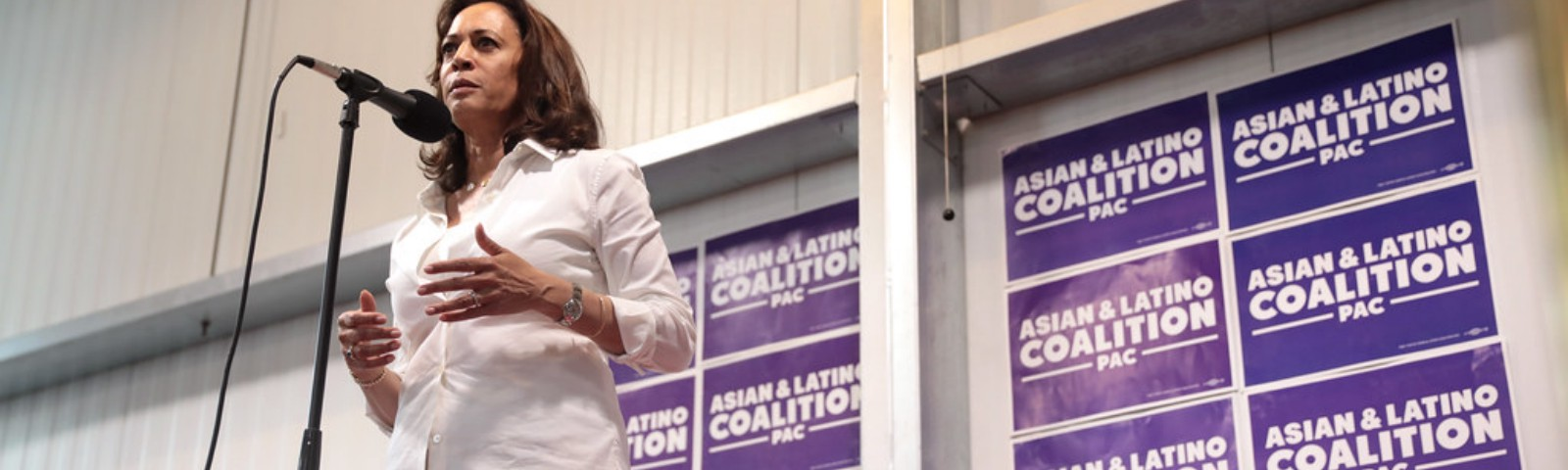 Kamala Harris speaking at a convention