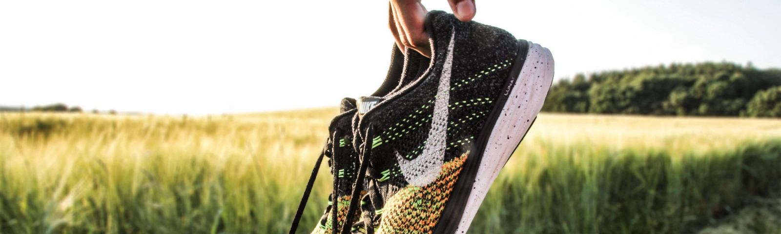 A picture of Nike Running shoes being held up.