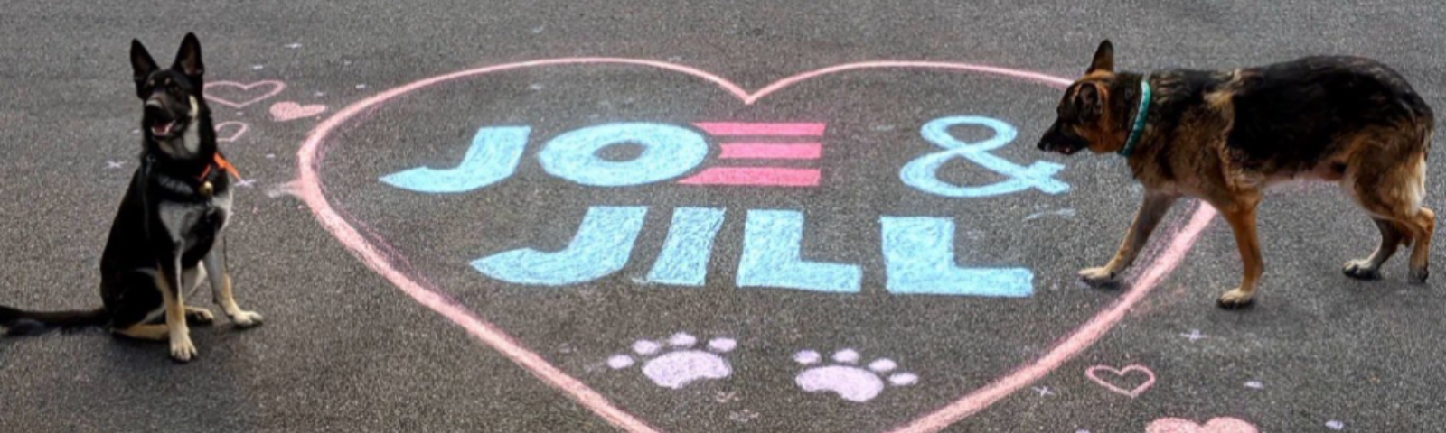 twitter header for Major and Champ, the new dogs in the whitehouse, a heart with joe and jill on it chalked on the ground