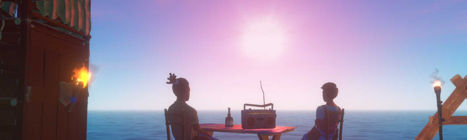 Screenshot of the game. Two survivors watch the sunset from chairs around a table with a radio on it on a complex raft.
