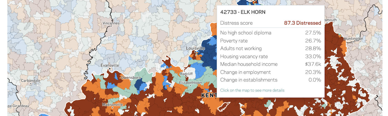 A choropleth map of distressed zip codes in the state of Kentucky.