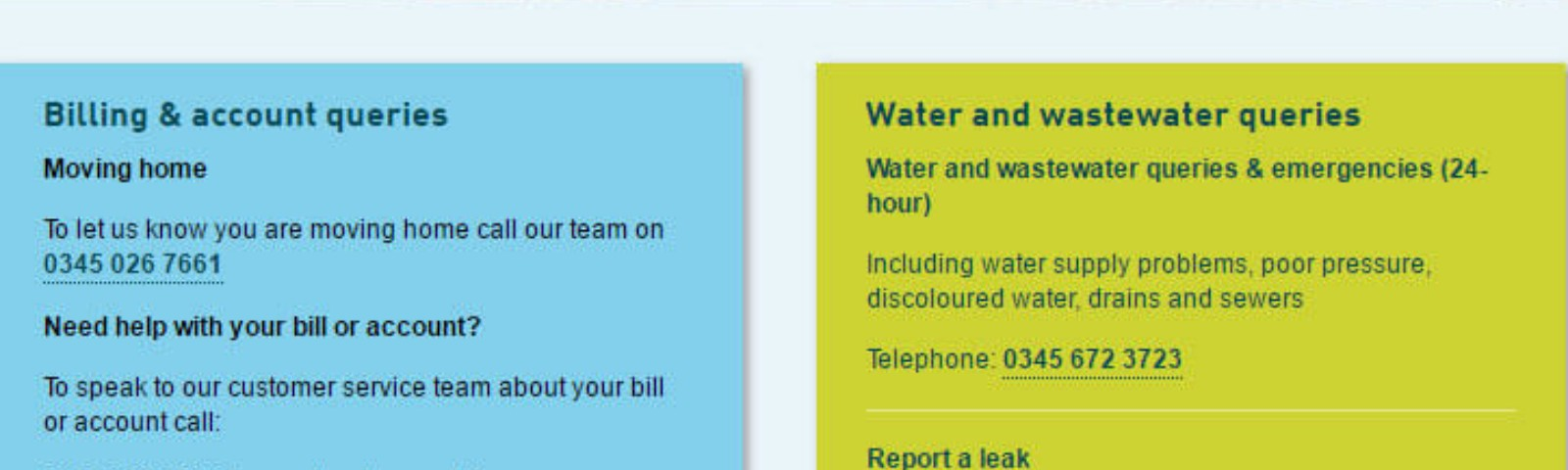 United Utilities contact numbers