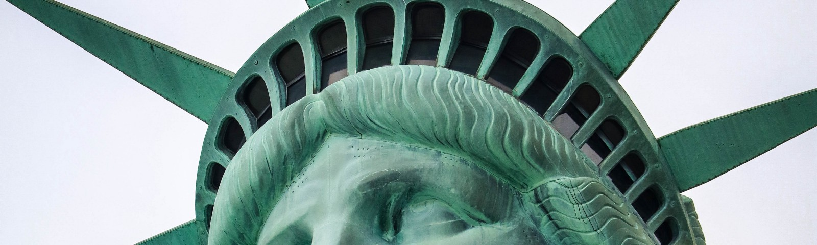 A headshot of the statue of liberty