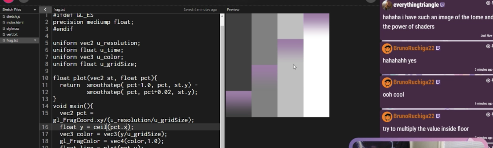 A screenshot of a past Cozy Coding stream that features a shaders demo in the p5 web editor.