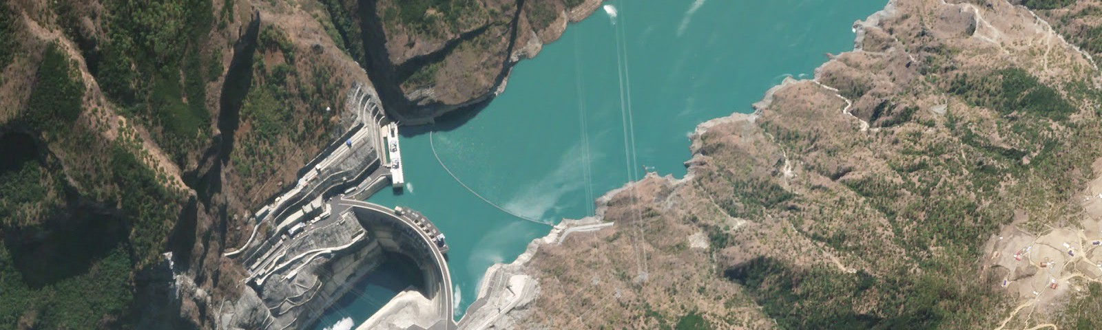 off nadir satellite image of jinping-1 dam in China