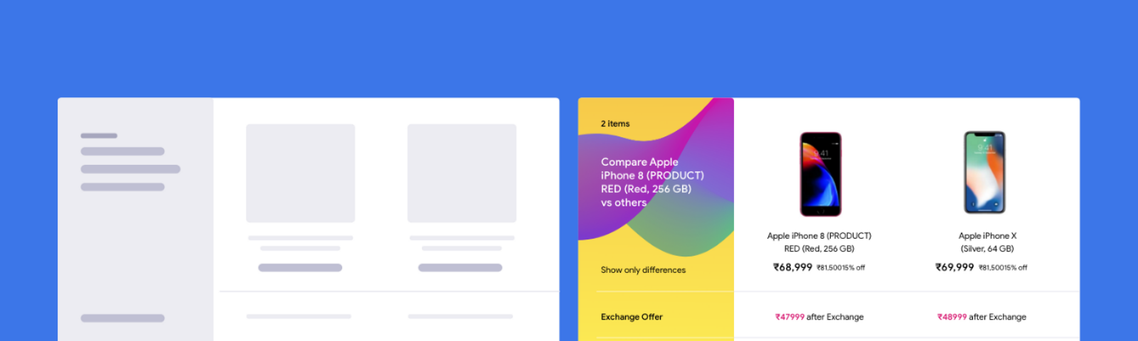 Product Comparision UI patterns