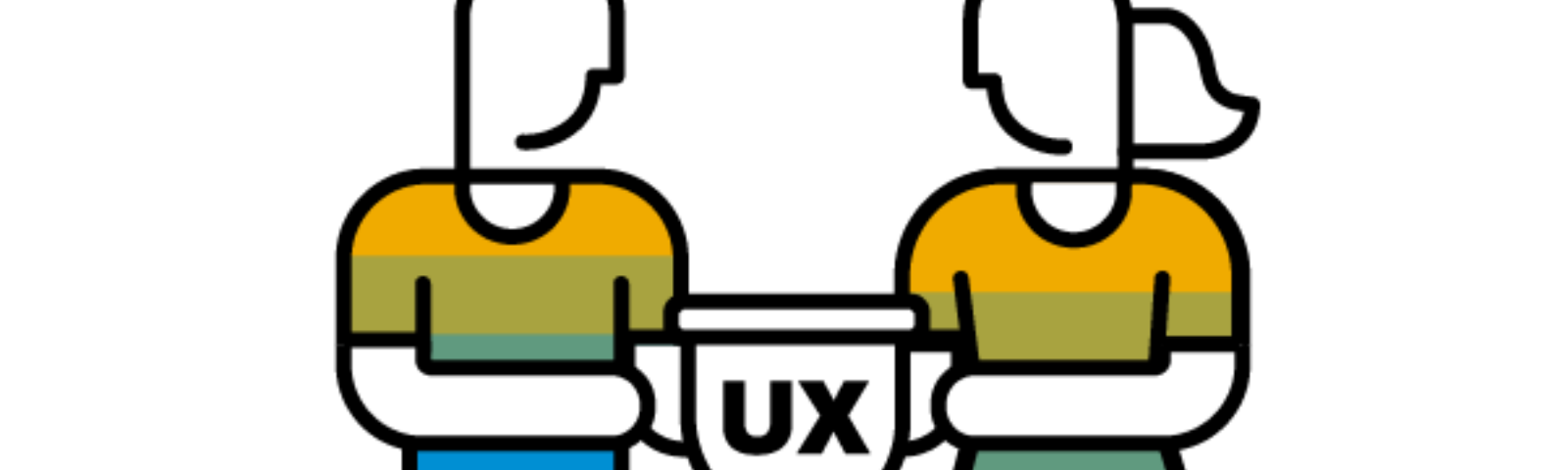 UX champions logo: man and woman holding a UX trophy