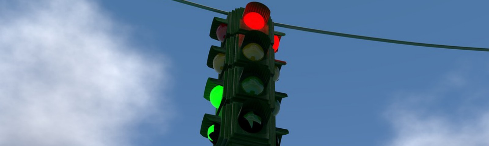 A traffic light signaling 'stop'.