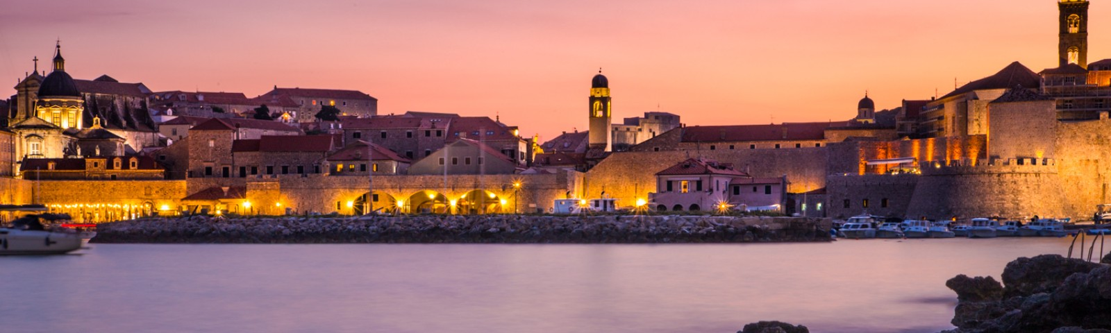 Sunset across the old town and city walls of Dubrovnik, Croatia