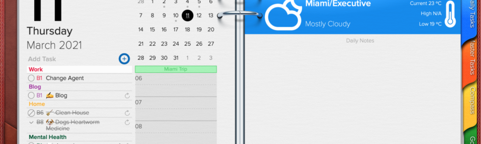 Opus One Daily Planner, task manager, and Note section.