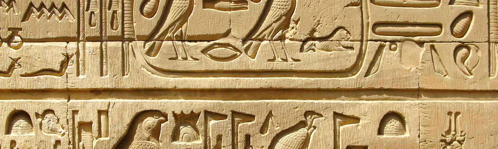 An area of a stone carving of ancient Egyptian hieroglyphs chiselled with great care and precision. The symbols shown are presented in two rows separated by a line. Some symbols are within a rounded-off box as if for emphasis.