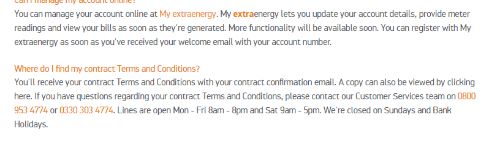Extra Energy Contact