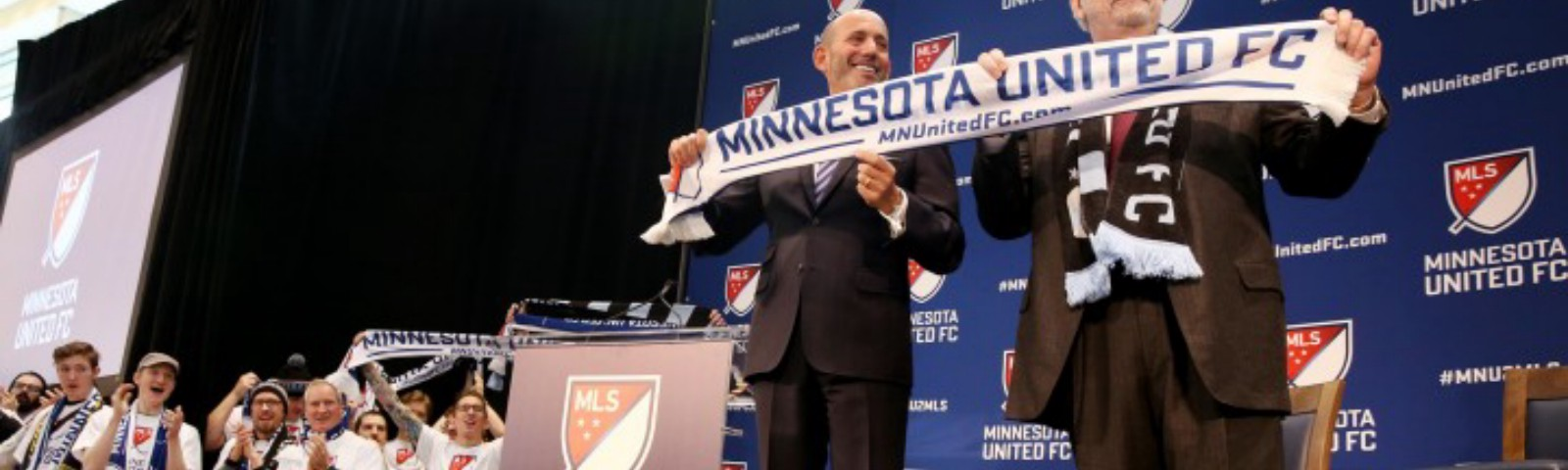 Major League Soccer Commissioner Don Garber, left, and Dr. Bill McGuire announce that Minnesota United FC will move to MLS at Target Field in Minneapolis on Wednesday, March 25, 2015. ] LEILA NAVIDI leila.navidi@startribune.com /