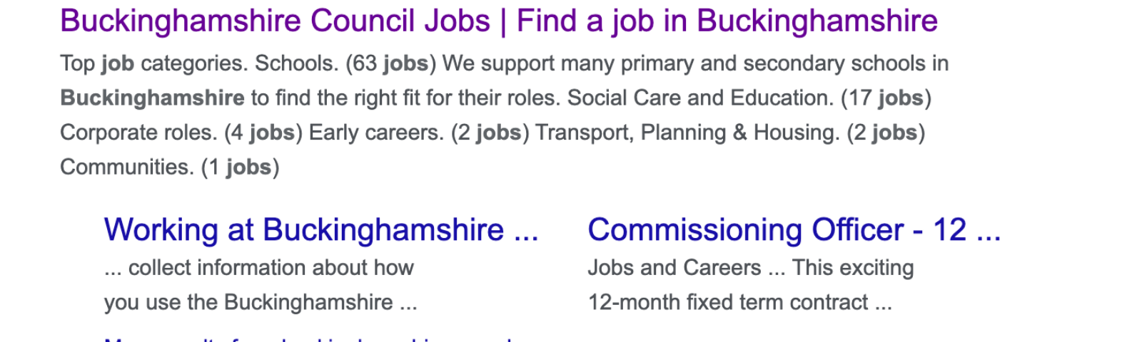 A screenshot showing how job listings display on the Google search results page