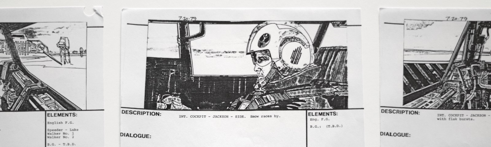 Storyboards for a film, with a sketch of a man in a helmet sitting in the cockpit of a plane.