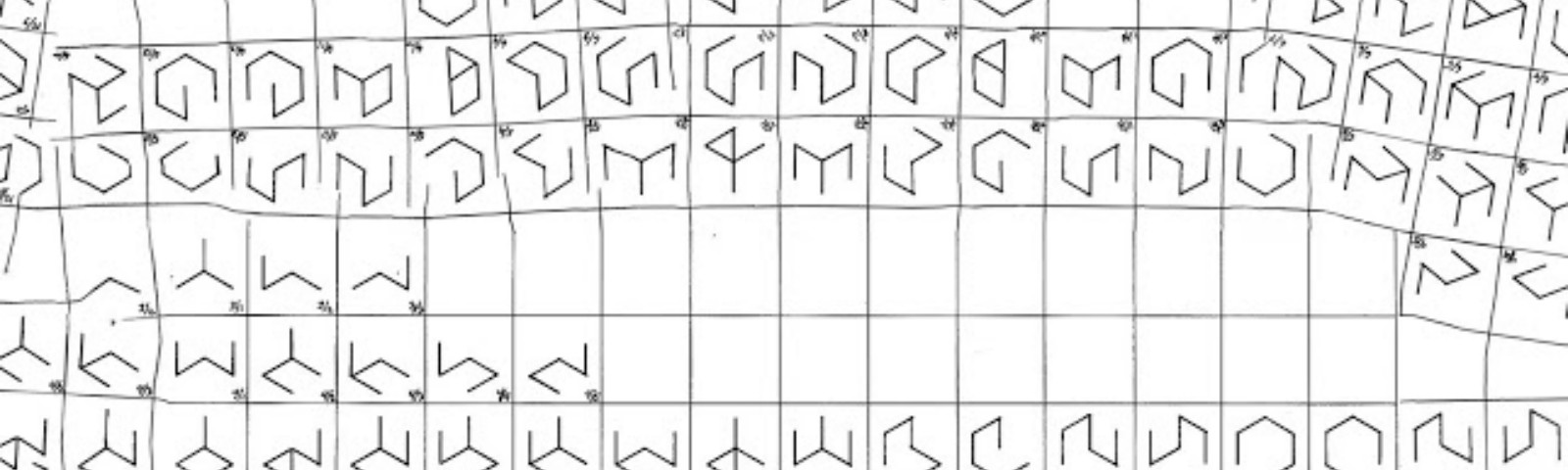 Variations of a 2D cube with missing lines showing its openness all placed on a grid covering the entire white canvas.