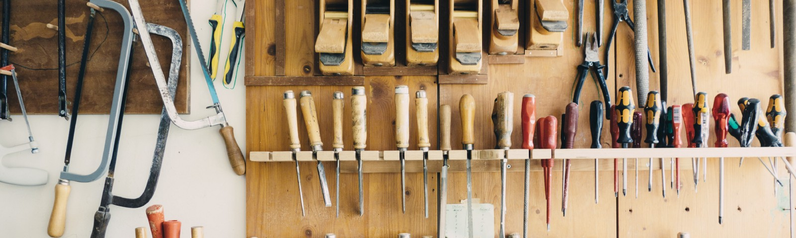 Photo of woodworking tools on wall by Barn Images on James Goydos Rutgers MD post on woodworking