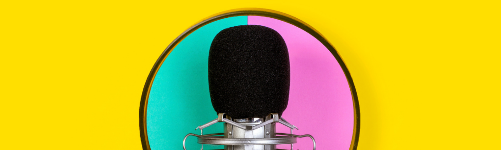 Photo. Against a yellow background, there is a picture of a microphone, that at the same time, is placed against an aqua green and pink background. Credit: Canva
