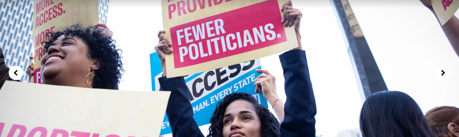 """Screenshot of aclu.org's top carousel section; woman holding a protest sign, underneath reads """"abortion access for all"""""""