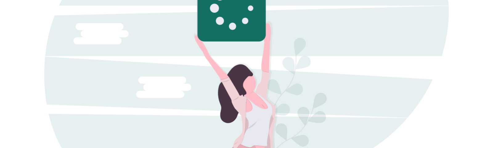 Illustration of a woman holding a loading icon above her head.