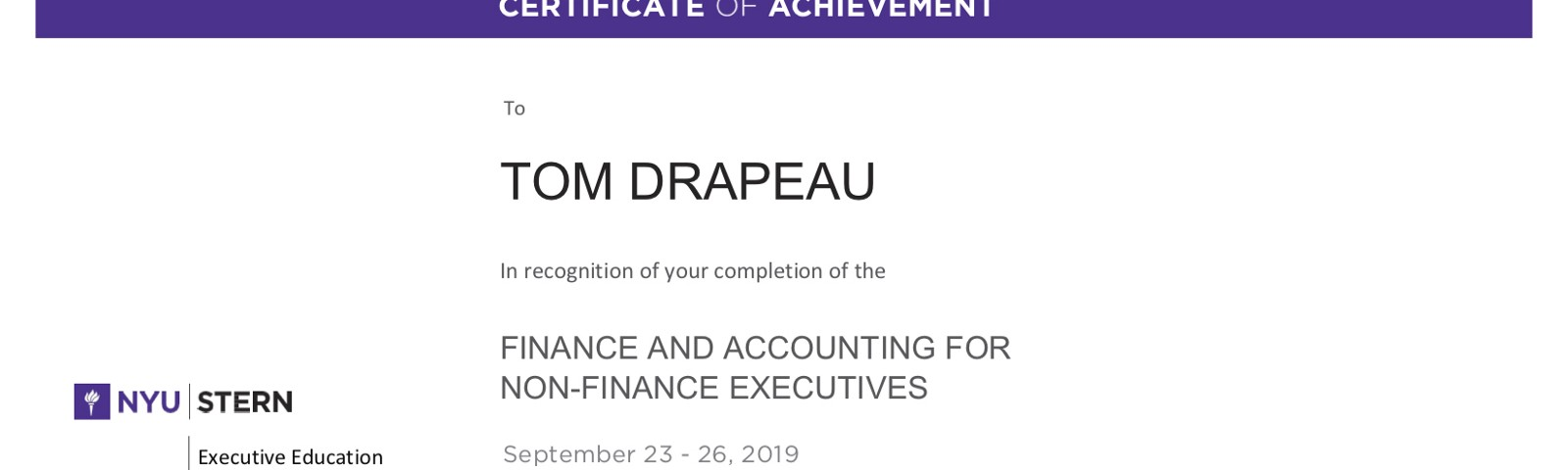 My completion certificate from the NYU Stern short course in Finance and Accounting.