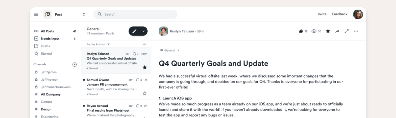 Post is a new tool for team-wide communication.