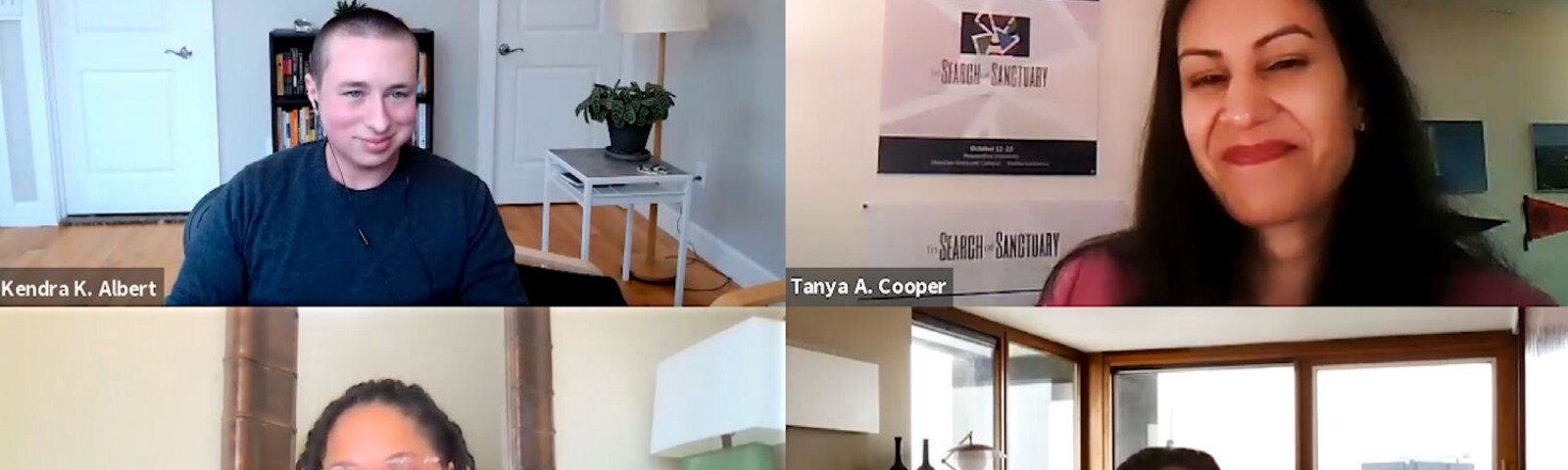 A zoom call with Kendra Albert, Tanya Cooper, Roslyn Satchel, and Thema Bryant-Davis