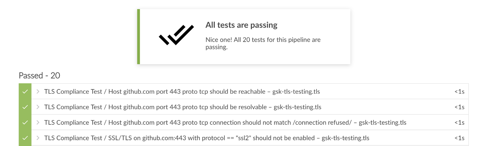 Jenkins test tab showing the results of InSpec tests.