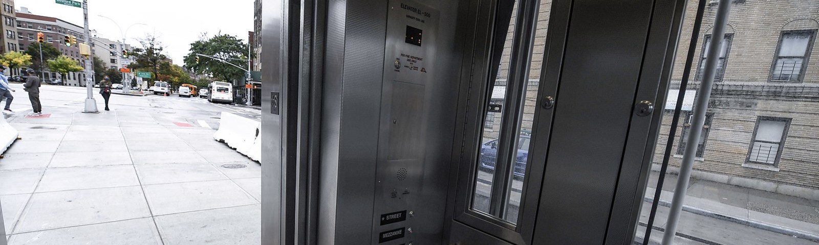 Photo of an intersection from the inside of a subway elevator. Courtesy of Marc A. Hermann / MTA New York City Transit.