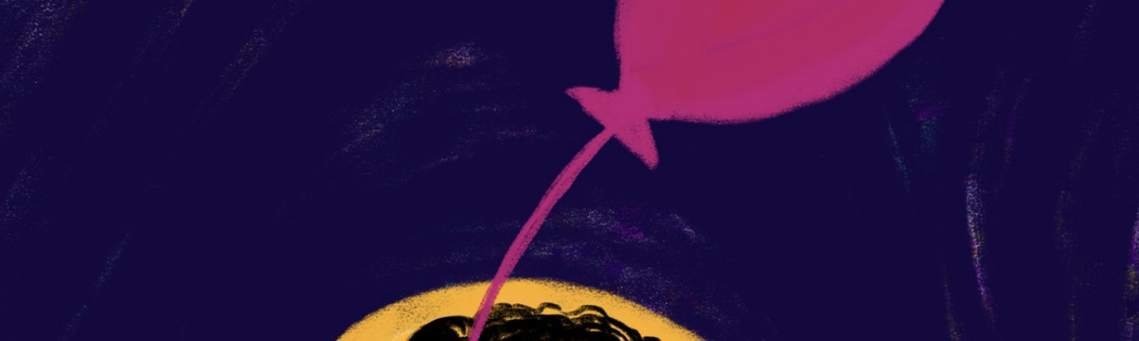 A dark silhouette of a curly-haired person, with a pink balloon strung through their heart, coming out of one of their eyes.