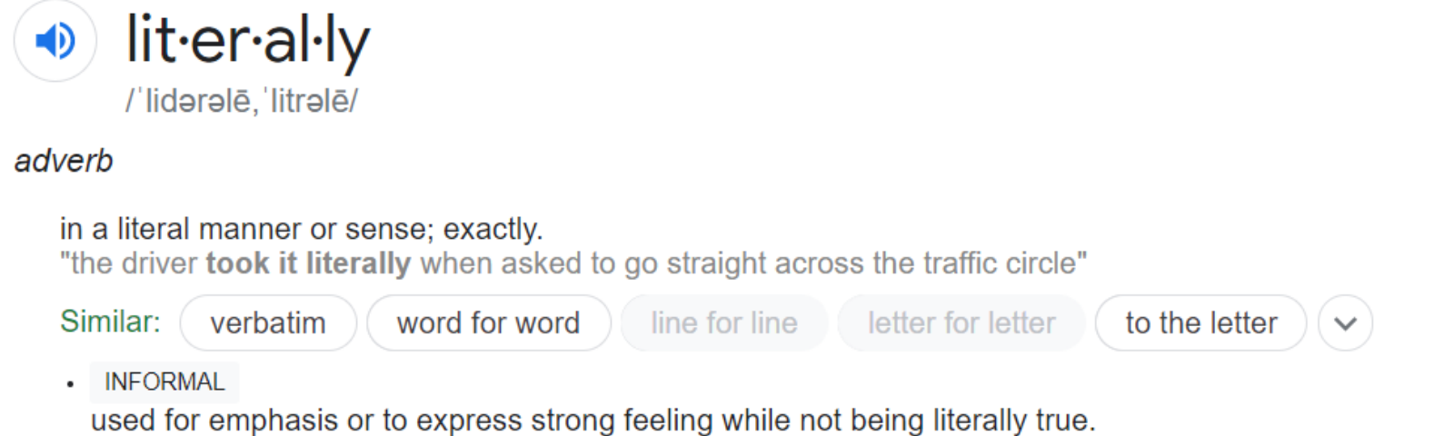 Screenshot of dictionary definition of literally
